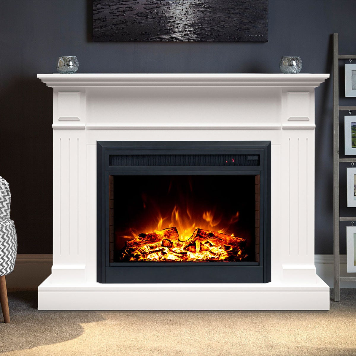 Berwick 2000w Electric Fireplace Heater Mantel Suite White Buy