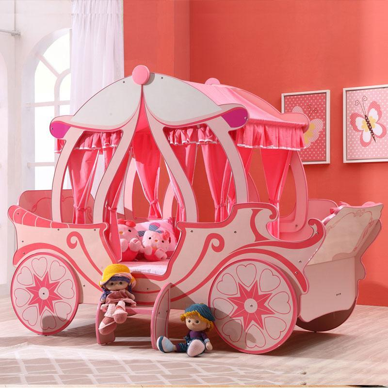 Kids Cinderella Royal Princess Carriage Pumpkin Bed - Pink ...