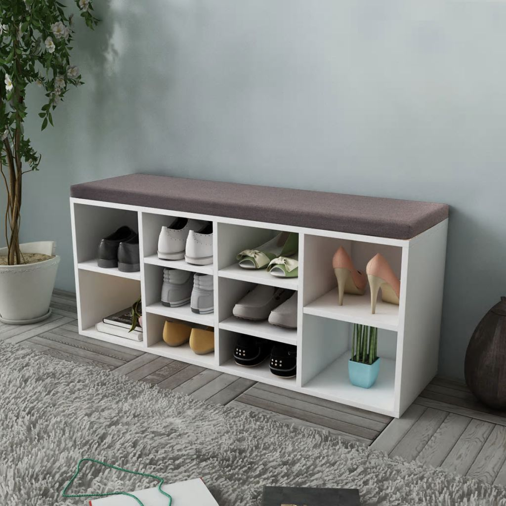 Swell Vidaxl Shoe Storage Bench 10 Compartments White Footwear Rack Shelf Seat Stool Inzonedesignstudio Interior Chair Design Inzonedesignstudiocom