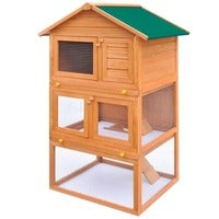 vidaXL Outdoor Rabbit Hutch Small Animal House Pet Cage 3 Layers Wood Run