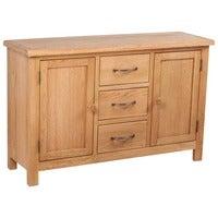 vidaXL Solid Oak Wood Sideboard with 3 Drawers Cupboard Cabinet Organiser