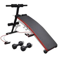 vidaXL Adjustable Sit Up Bench Abdominal Gym Fitness Exercise Dumbbell Rope