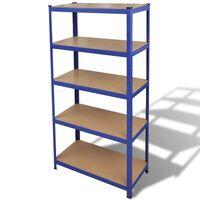 vidaXL Storage Shelf Garage Storage Organizer Blue Workshop Display Rack Unit