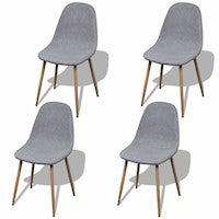 vidaXL 4x Dining Chair Iron Legs Light Grey Fabric Kitchen Living Furniture