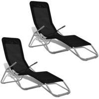 2pcs Folding Reclining Tanning Sun Bed Sunbed Lounger Beach Chair Leisure Black
