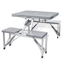 vidaXL Folding Picnic Table Set Aluminium Light Grey Outdoor Camping BBQ