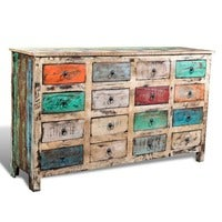 Reclaimed Wood Recycled Cabinet Multicolour Storage w/ 16 Drawers Vintage Chest