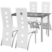 Modern Dining Suite Glass Top Table 4 White Chairs High Back Leather Seat