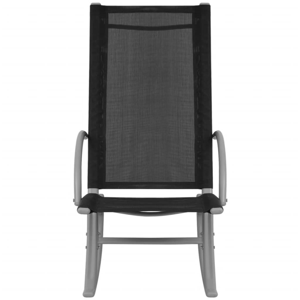 Superb Vidaxl 2X Garden Rocking Chairs Steel And Textilene Black Outdoor Patio Seat Squirreltailoven Fun Painted Chair Ideas Images Squirreltailovenorg