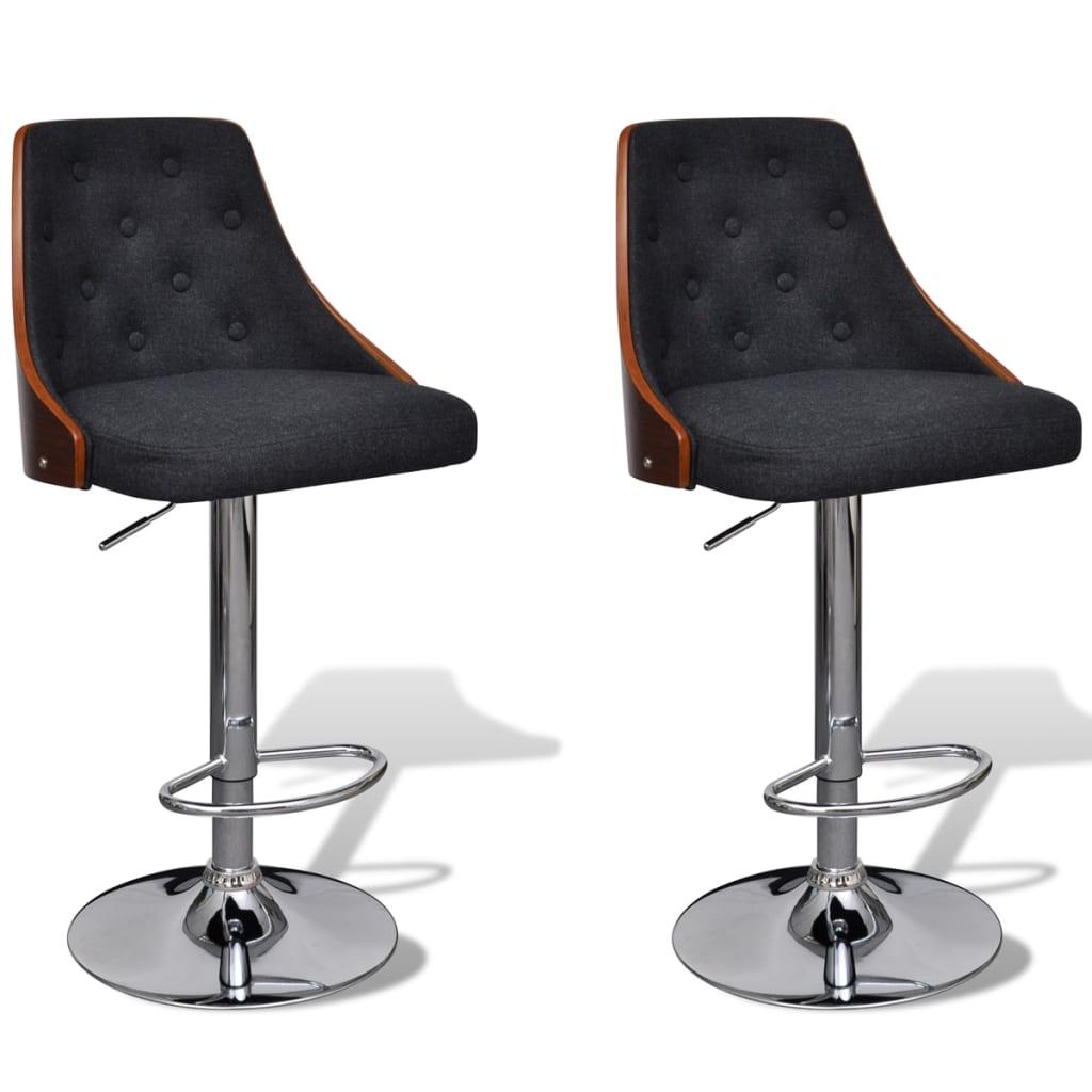 vidaxl 2x bent wood bar stool w backrest kitchen chair