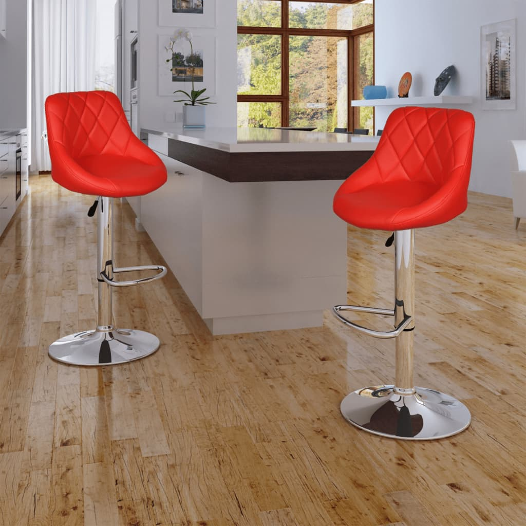 Superb Vidaxl 2X Leather Bar Stool Red Kitchen Dining Chair Gas Lift Steel Adjustable Unemploymentrelief Wooden Chair Designs For Living Room Unemploymentrelieforg