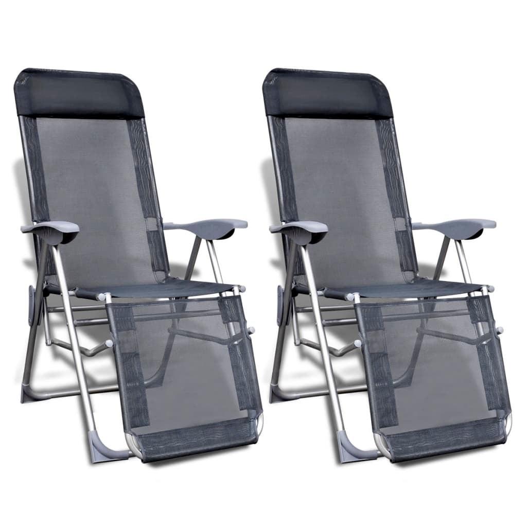 Brilliant Vidaxl 2X Folding Garden Chairs Aluminium And Textilene Grey Lounge Recliner Ncnpc Chair Design For Home Ncnpcorg