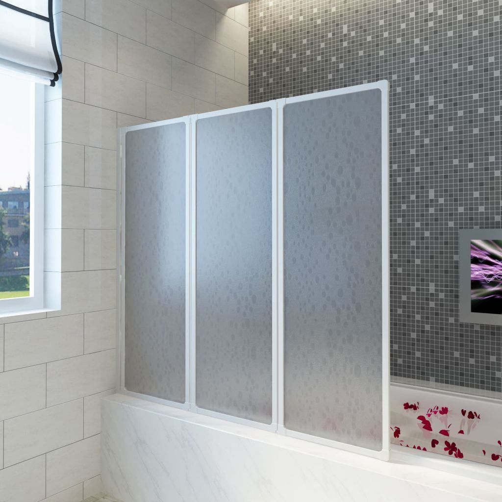 New Shower Bath Screen 3 Foldable Panel Wall Liner Pp