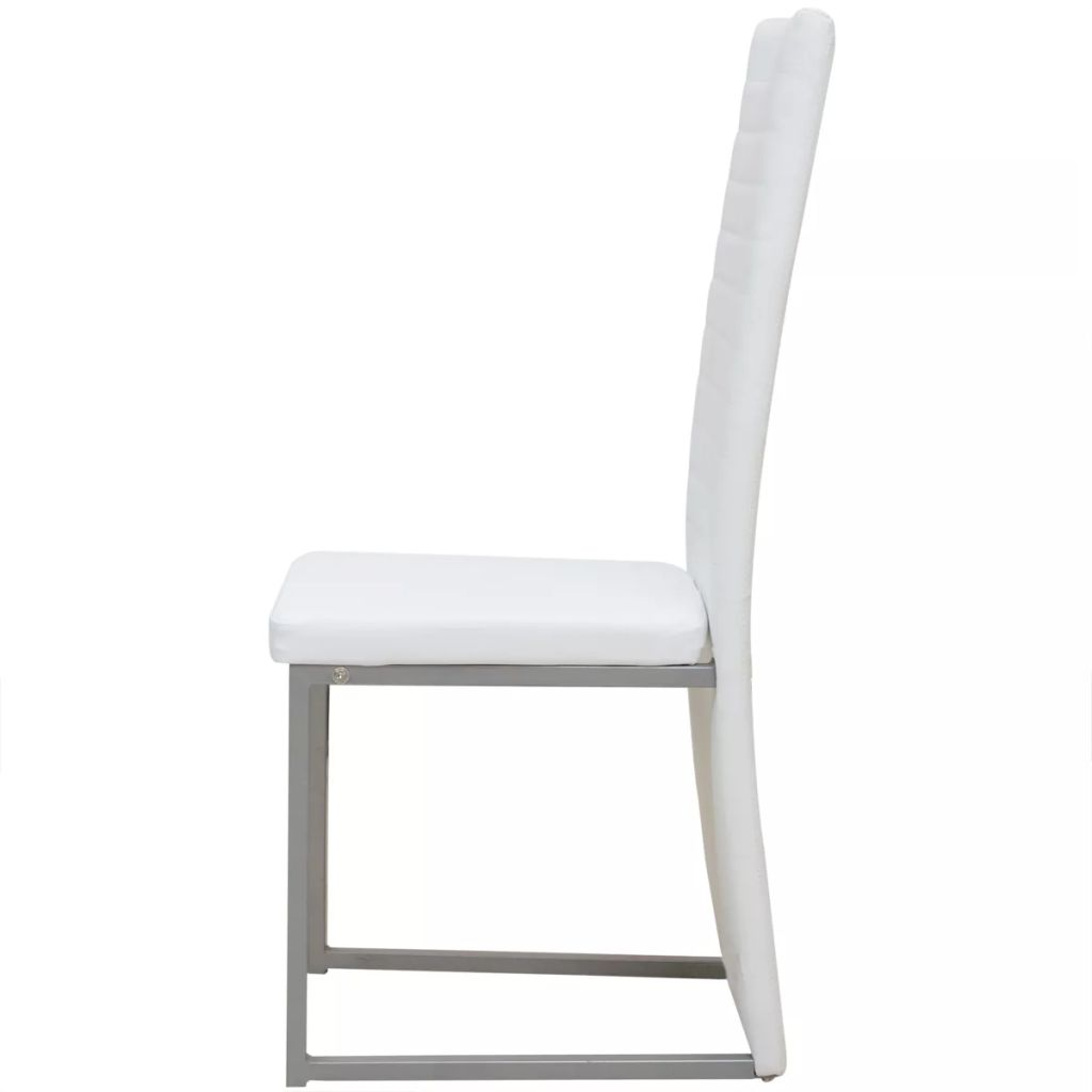 vidaXL 4x Dining Chair Modern White Leather Ribbed High ...