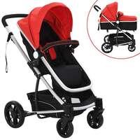 vidaXL 2-in-1 Baby Toddler Stroller Aluminium Red and Black Pram Pushchair