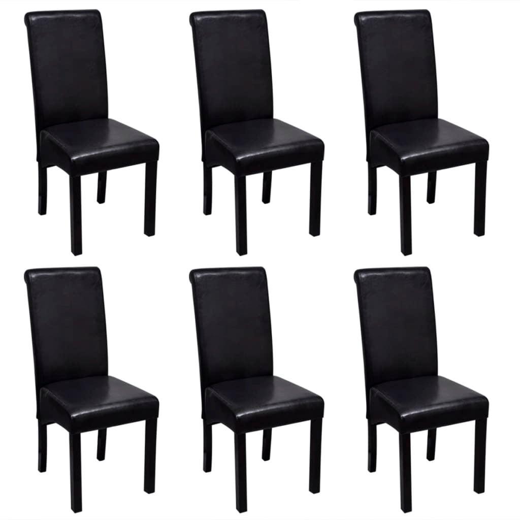 Vidaxl 6x Dining Chair Artificial Leather Black Wooden Leg