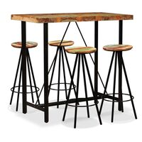 vidaXL 5 Piece Solid Reclaimed Wood Bar Set Kitchen Dining Room Table Stools