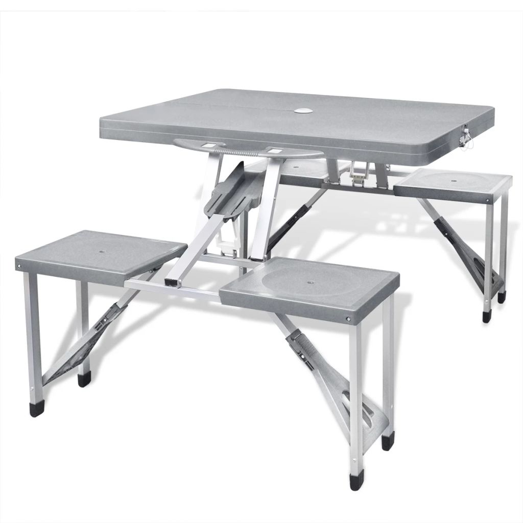 Vidaxl Folding Picnic Table Set Aluminium Light Grey Outdoor