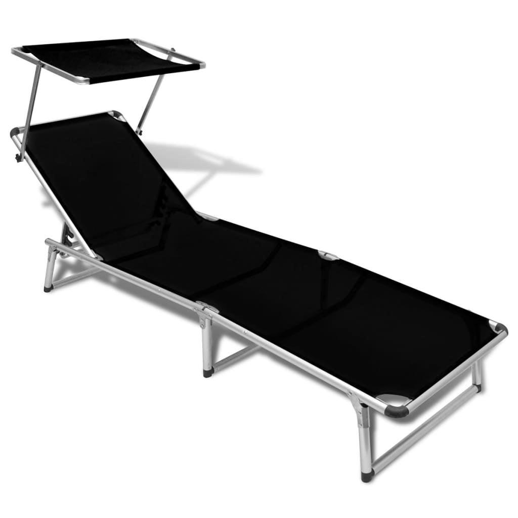 Fantastic Vidaxl Sunlounger Aluminium Frame And Textilene Black Reclining Beach Chair Caraccident5 Cool Chair Designs And Ideas Caraccident5Info