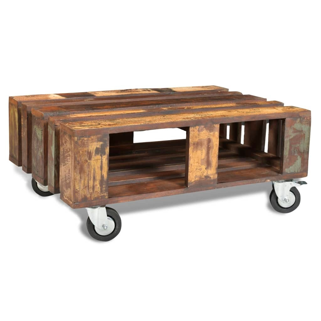 Antique Style Solid Reclaimed Wood Timber Coffee Table W 4 Wheels