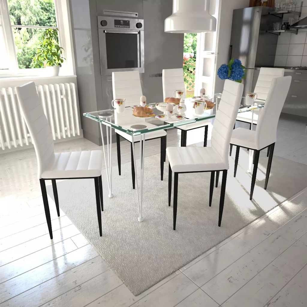 Artificial Leather Dining Set 1 Glass Table w/ 6 Chairs ...