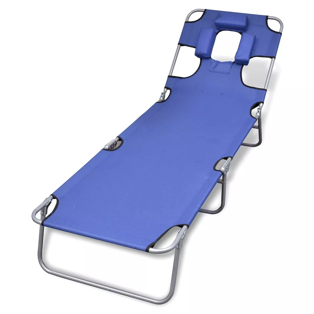 Incredible Blue Outdoor Foldable Sun Lounger Bed Reclining Beach Chair Fabric Head Rest Caraccident5 Cool Chair Designs And Ideas Caraccident5Info