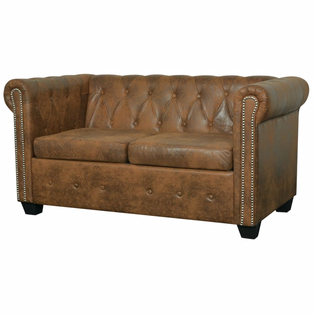 vidaXL Chesterfield Sofa 2-Seater Faux Leather Brown Couch Chaise Lounge Bed
