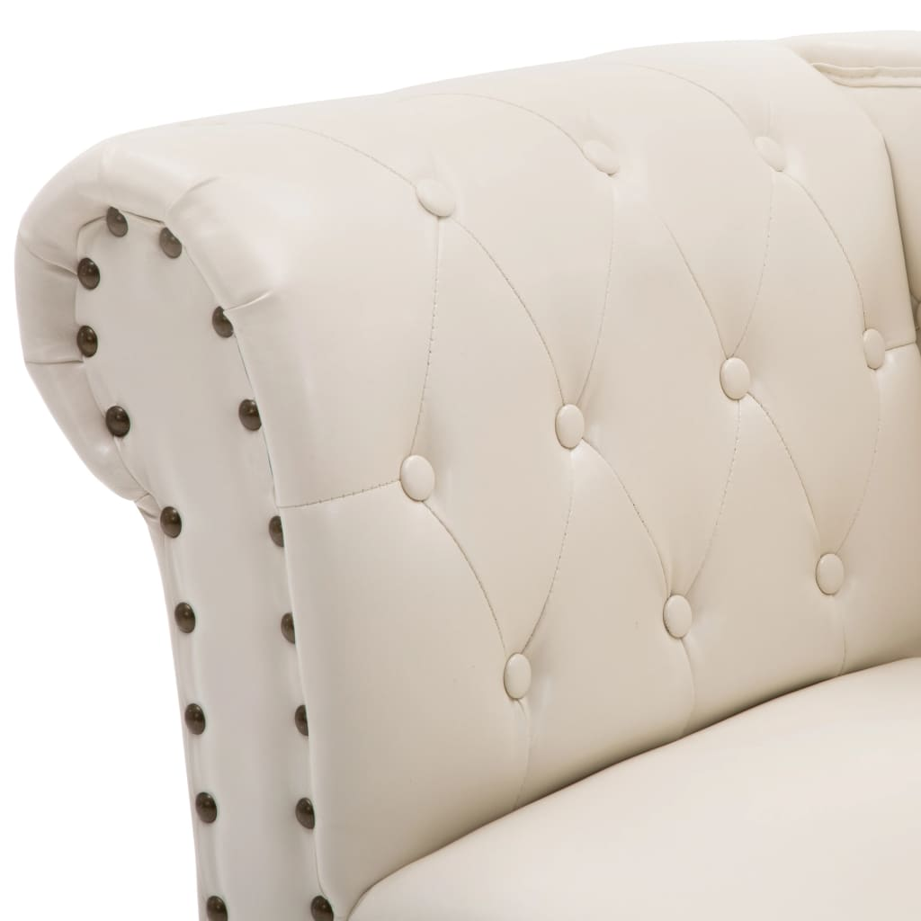 vidaXL Chaise Lounge Artificial Leather Cream White Sofa ...