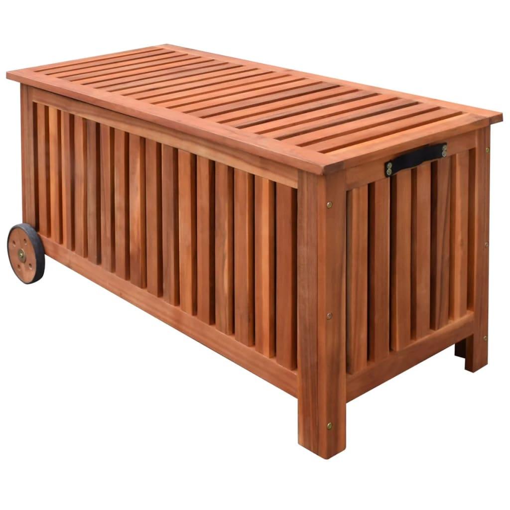 Waterproof Wood Storage Box: Garden Cushion Blanket Pillow Box Storage Mobile Wooden