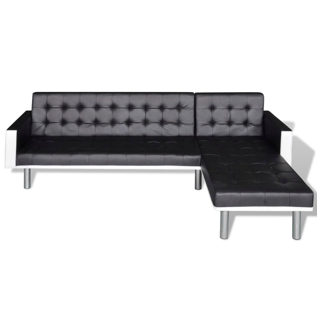 Modern Black Leather Corner Sofa Bed 3 Seater Lounge Suite