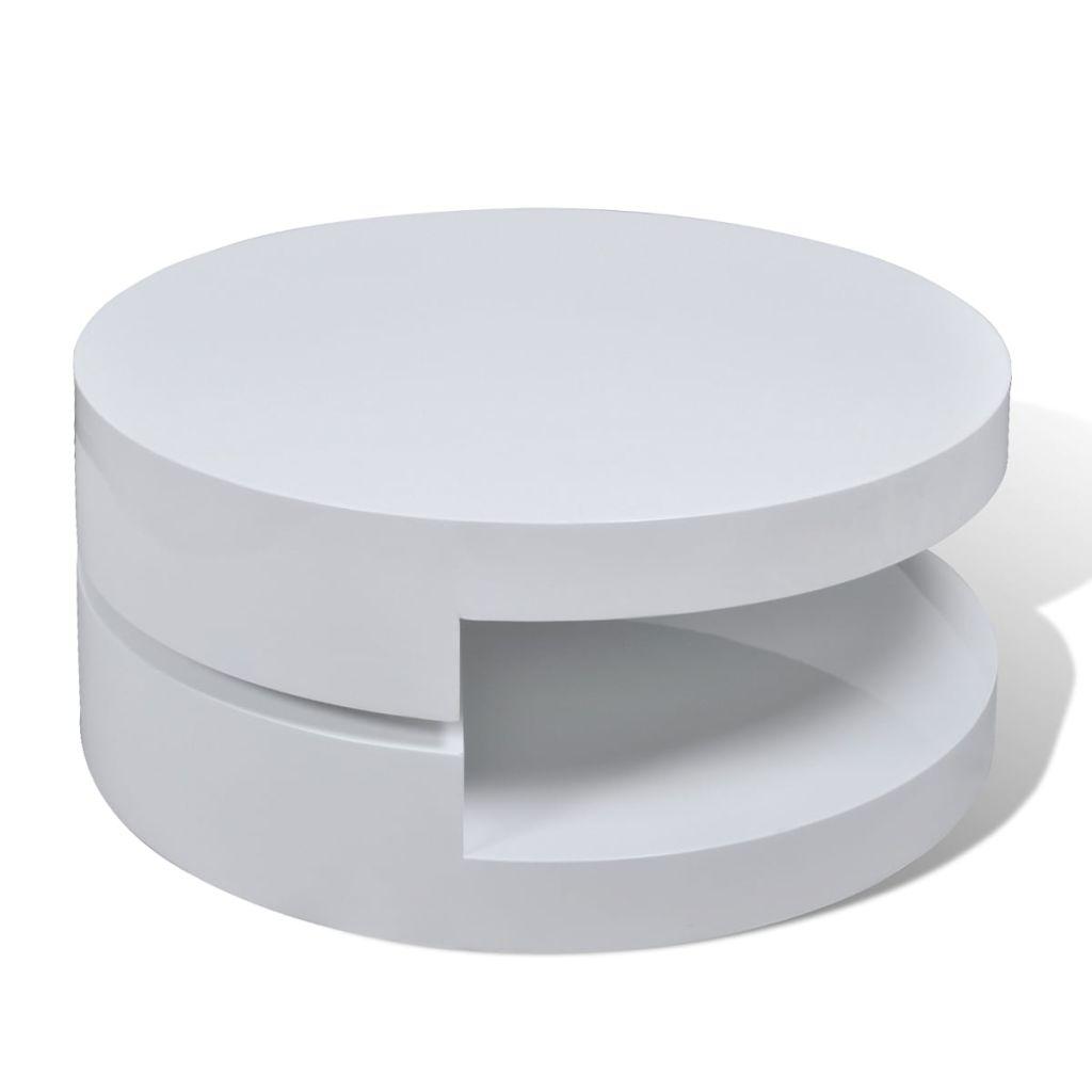 Modern White Coffee Table Side Storage Swivel Office ...