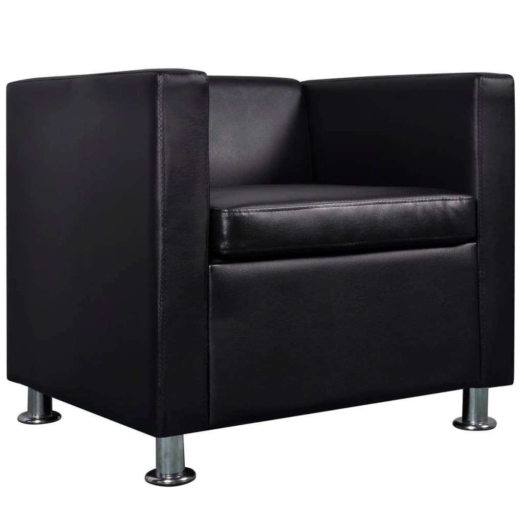 Incredible Vidaxl Black Pvc Leather Sofa Seat Arm Chair Tub Lounge Cube Armchair W Pillow Creativecarmelina Interior Chair Design Creativecarmelinacom
