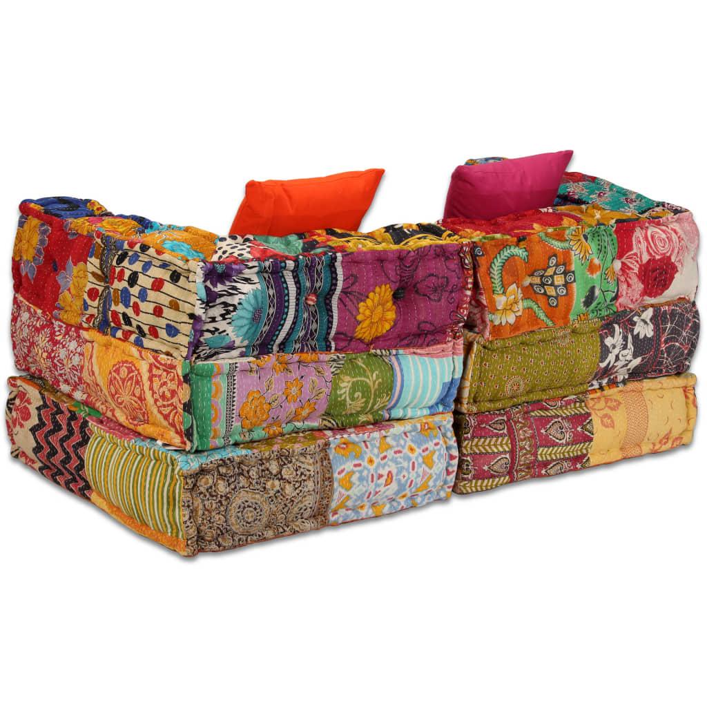 vidaXL 2 Seater Modular Sofa Bed Fabric Patchwork Lounge ...