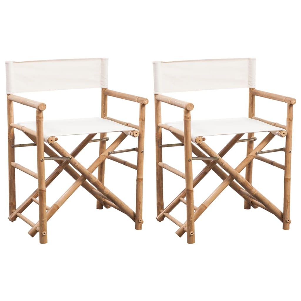 Amazing Vidaxl 2X Folding Directors Chair Bamboo And Canvas Backyard Lounge Seat Beatyapartments Chair Design Images Beatyapartmentscom