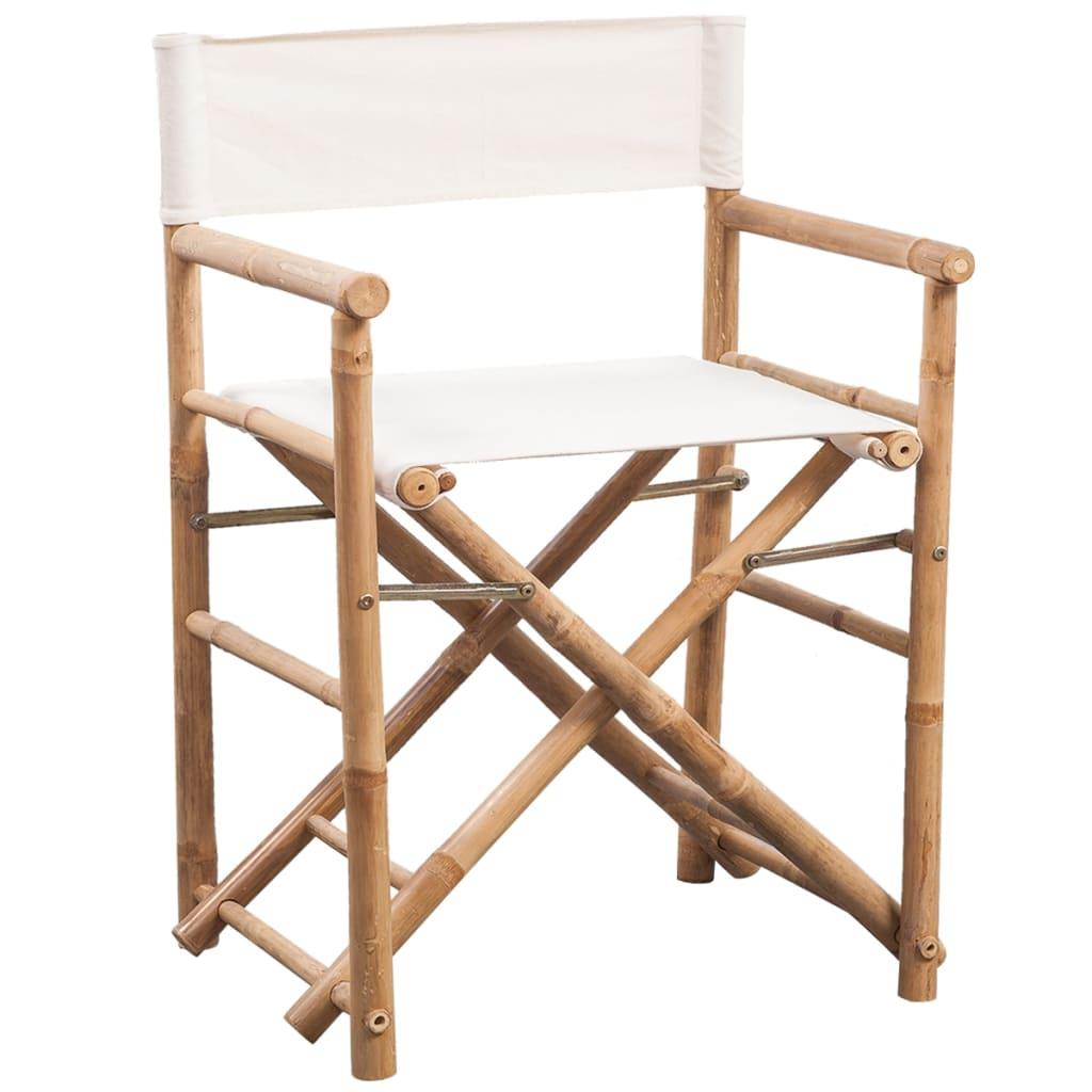 Admirable Vidaxl 2X Folding Directors Chair Bamboo And Canvas Backyard Lounge Seat Beatyapartments Chair Design Images Beatyapartmentscom