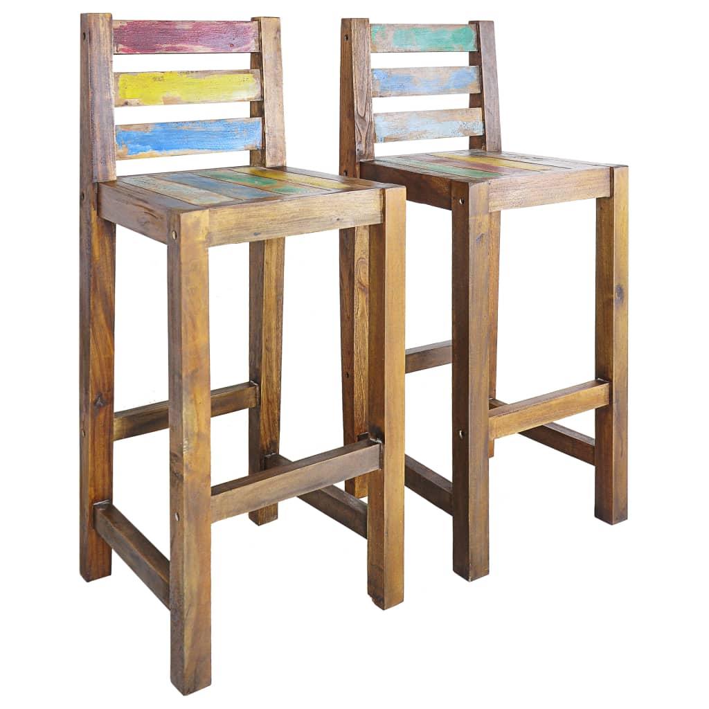 2pcs Home Bar Stool Bamboo Chair Seat High Backrest Footrest Kitchen Furniture