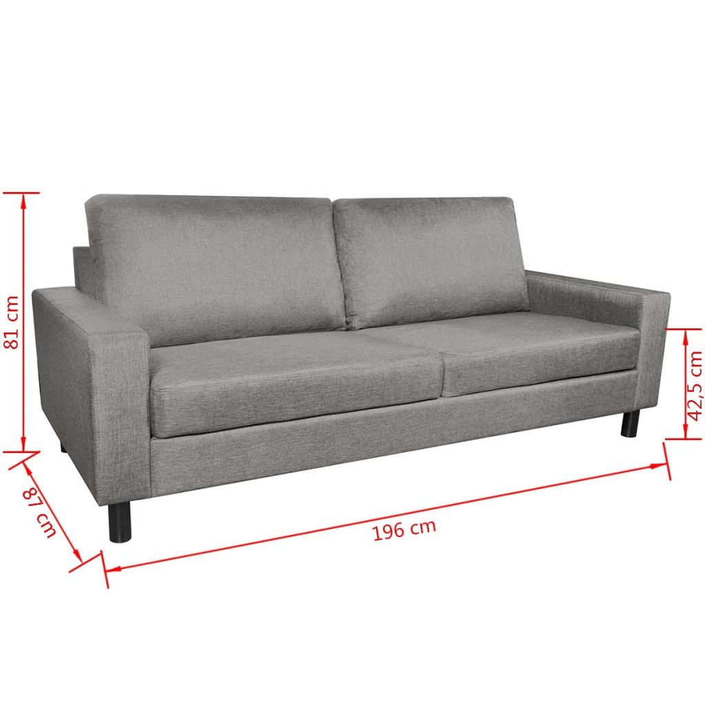 Grey Lounge Suite: VidaXL 3 Seater Modern Fabric Sofa Couch Lounge Suite