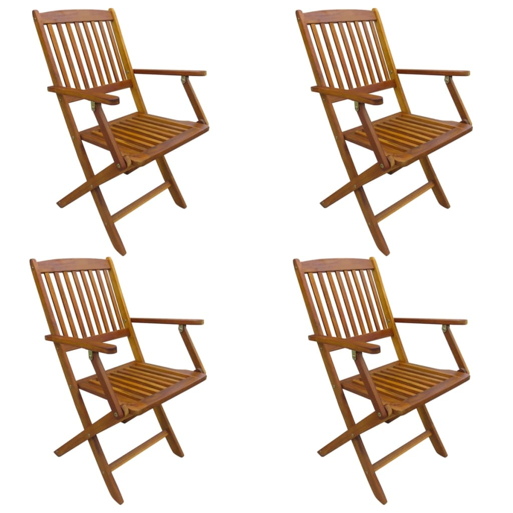 Brilliant Vidaxl 4X Solid Acacia Wood Folding Outdoor Chairs Garden Patio Natural Seat Machost Co Dining Chair Design Ideas Machostcouk