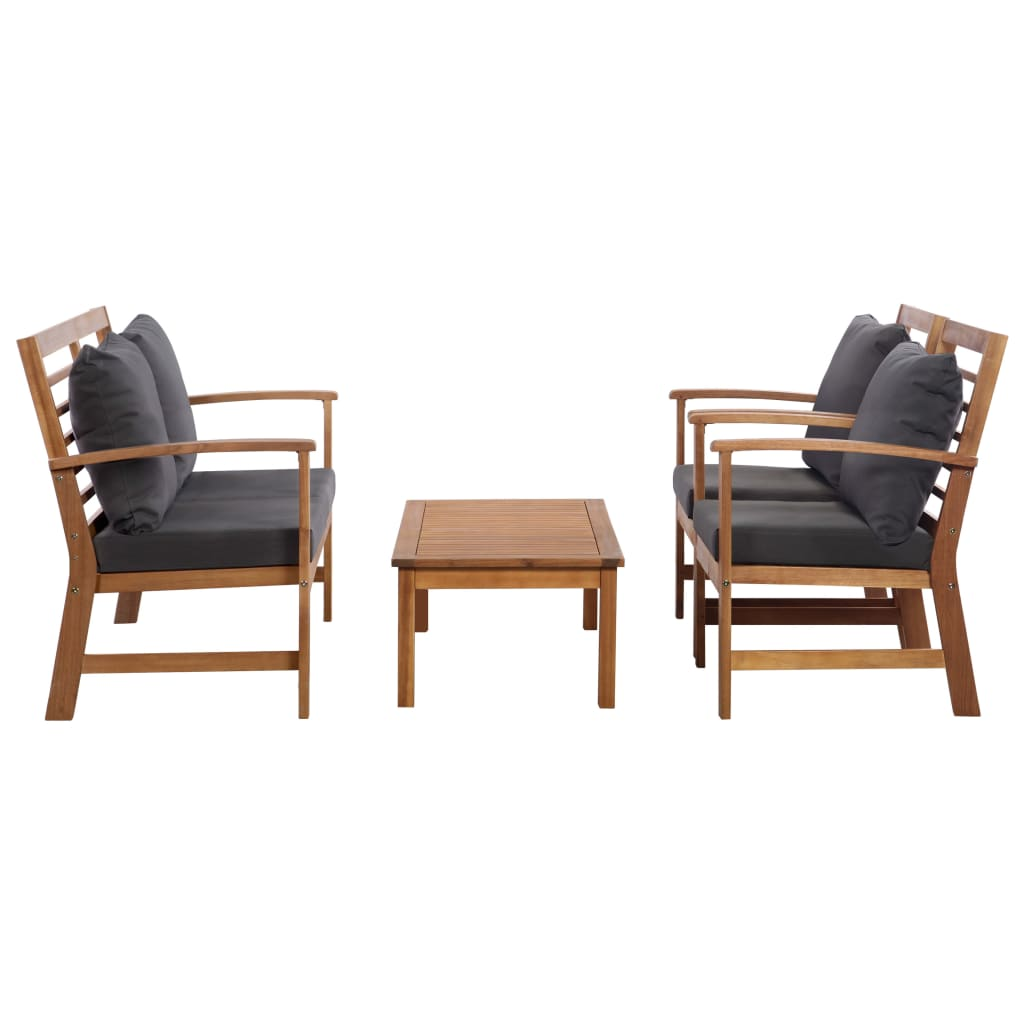 Oasis 4 Seater Garden Lounging Table And Chairs Set: VidaXL 4x Solid Acacia Wood Garden Lounge Set With Cushion