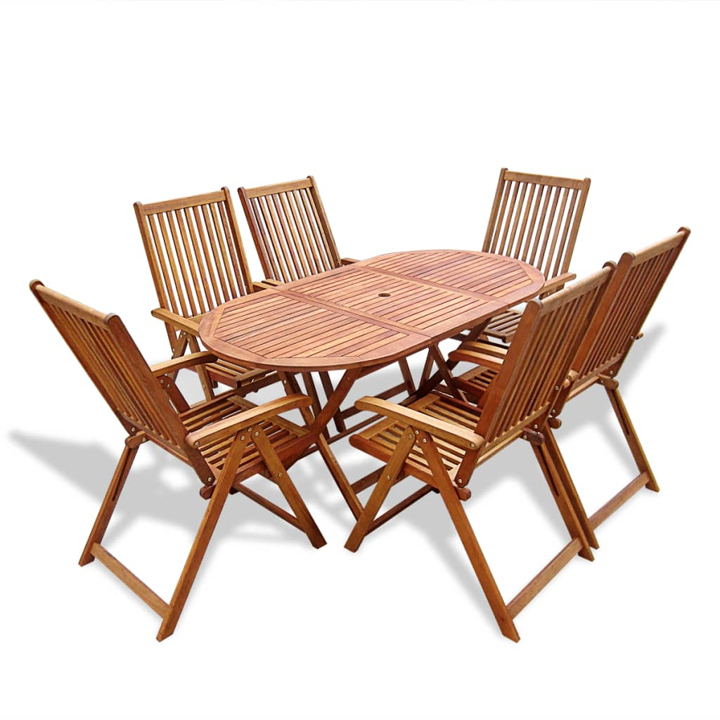 Brilliant Vidaxl 6 Seater Acacia Wood Outdoor Setting 7 Piece Table Chair Set Dining Brown Dailytribune Chair Design For Home Dailytribuneorg