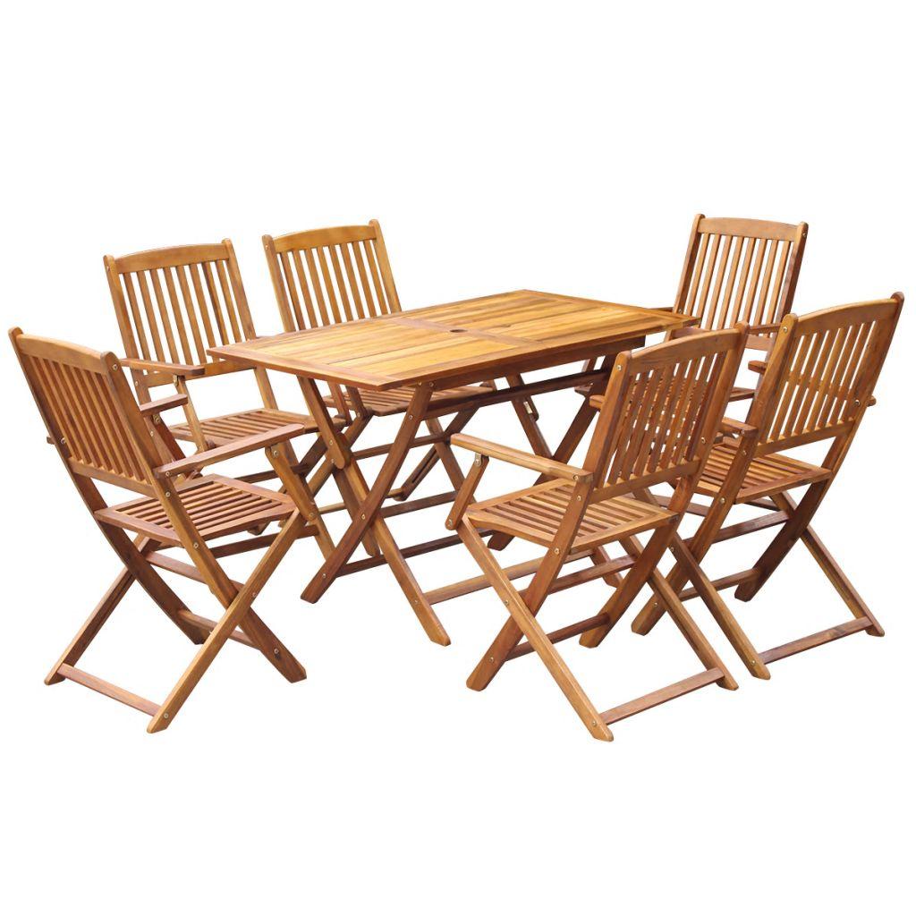Pleasant Vidaxl 7Pc Acacia Wood Outdoor Folding Dining Set 6 Seater Folding Table Chair Dailytribune Chair Design For Home Dailytribuneorg