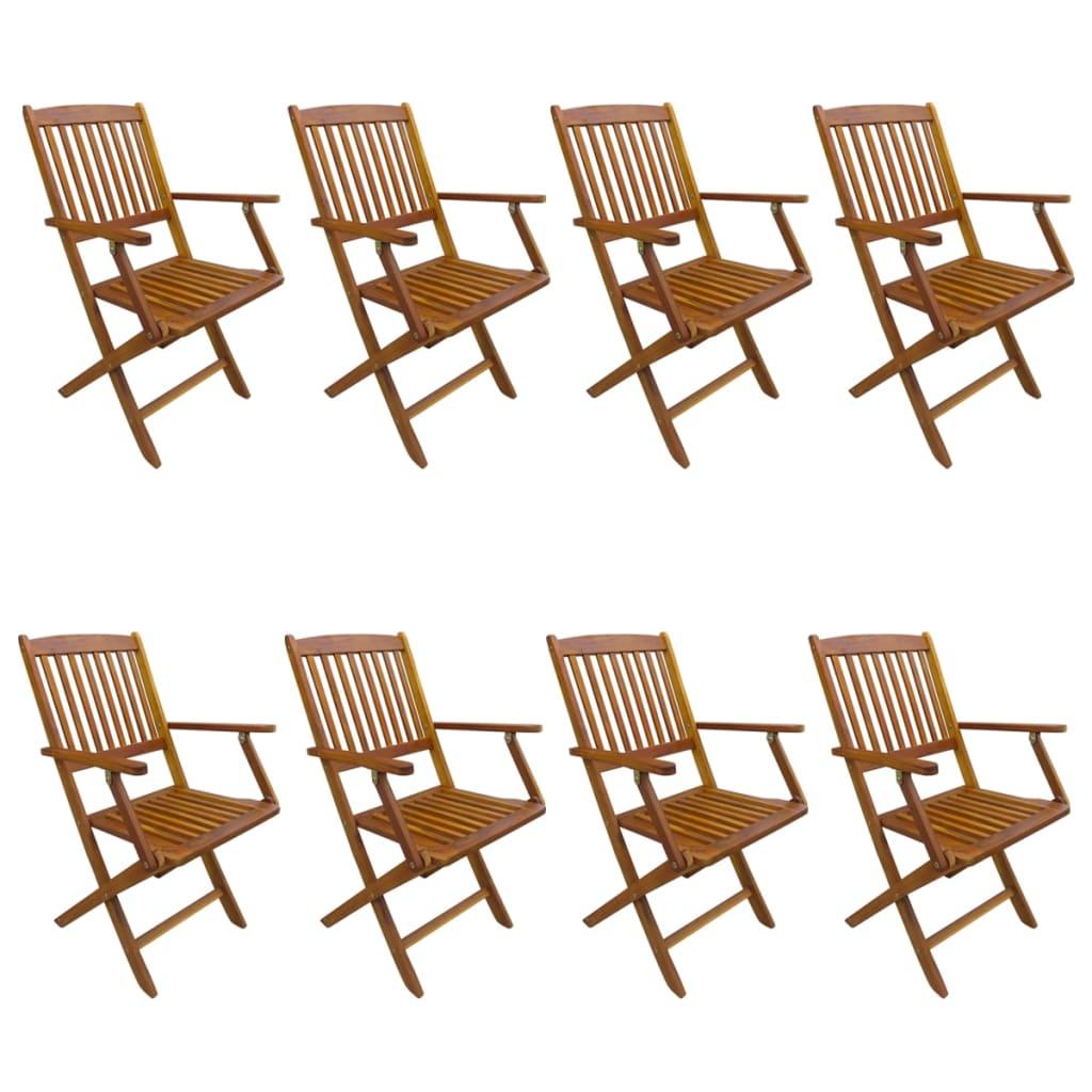vidaXL 8x Solid Acacia Wood Folding Outdoor Chairs Garden ...