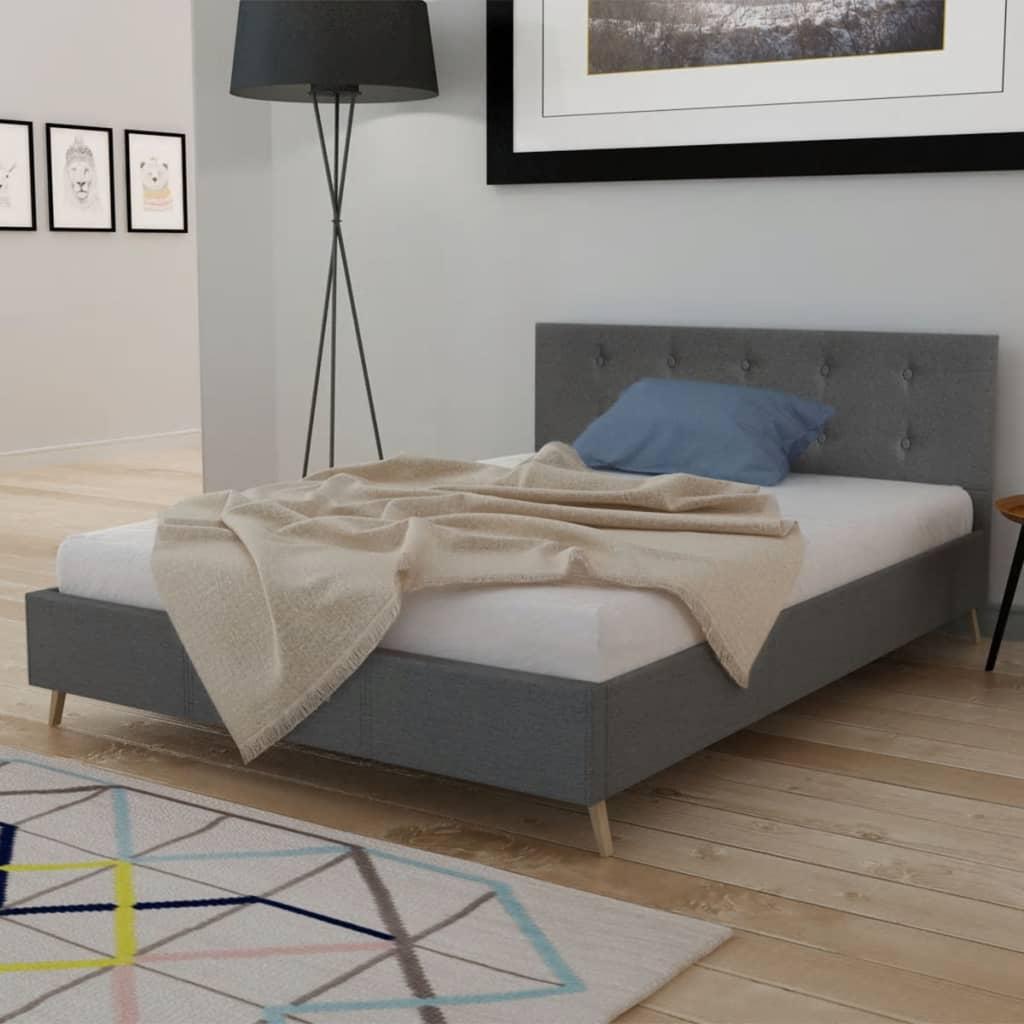 Vidaxl Bed With Memory Foam Mattress Queen Dark Grey