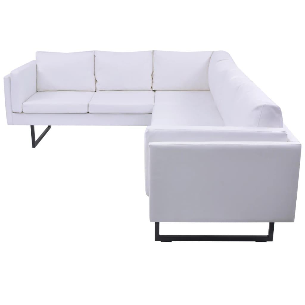 Vidaxl Corner Sofa Pvc Leather White Couch Lounge Suite