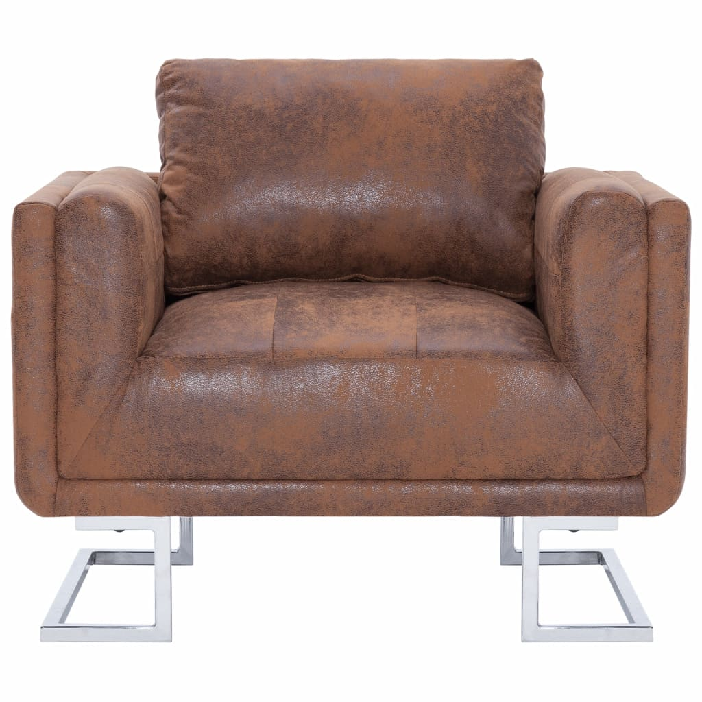 vidaXL Cube Armchair Brown Faux Suede Leather Cosy Padded ...