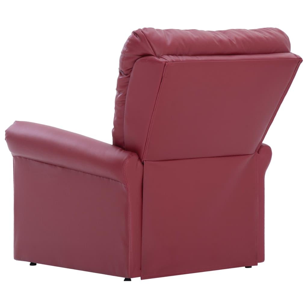vidaXL Electric Massage Recliner Chair Wine Red Faux Leather Shiatsu Armchair