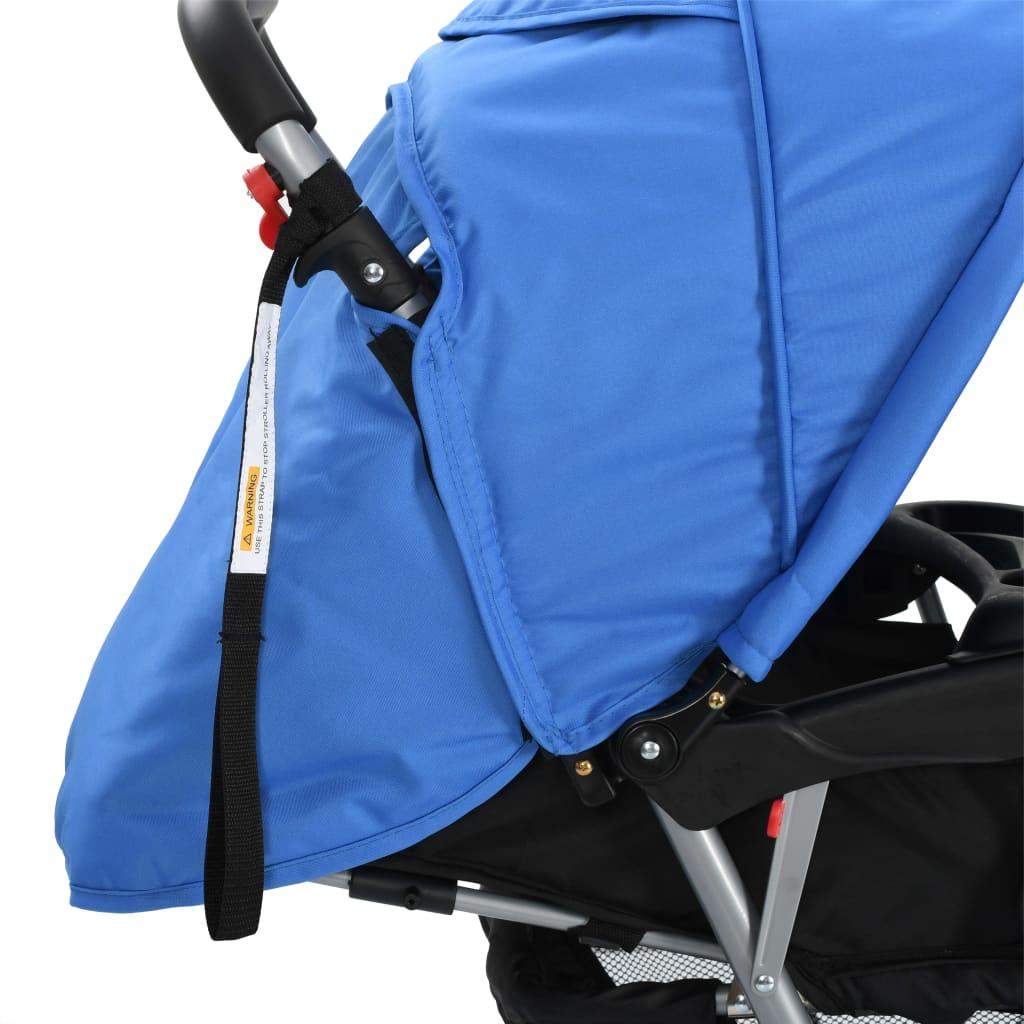 vidaXL Tandem Stroller Steel Grey and Black Child Toddler Pram Pushchair Buggy