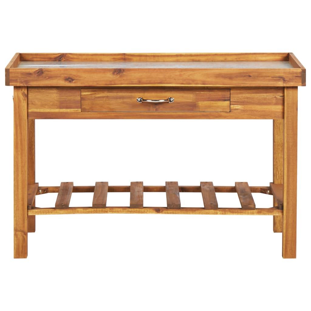 VidaXL Solid Acacia Wood Garden Work Bench With Zinc Top