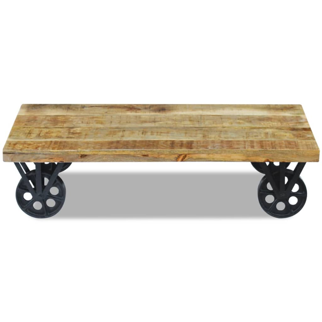 vidaxl mango wood coffee side table steel wheel industrial