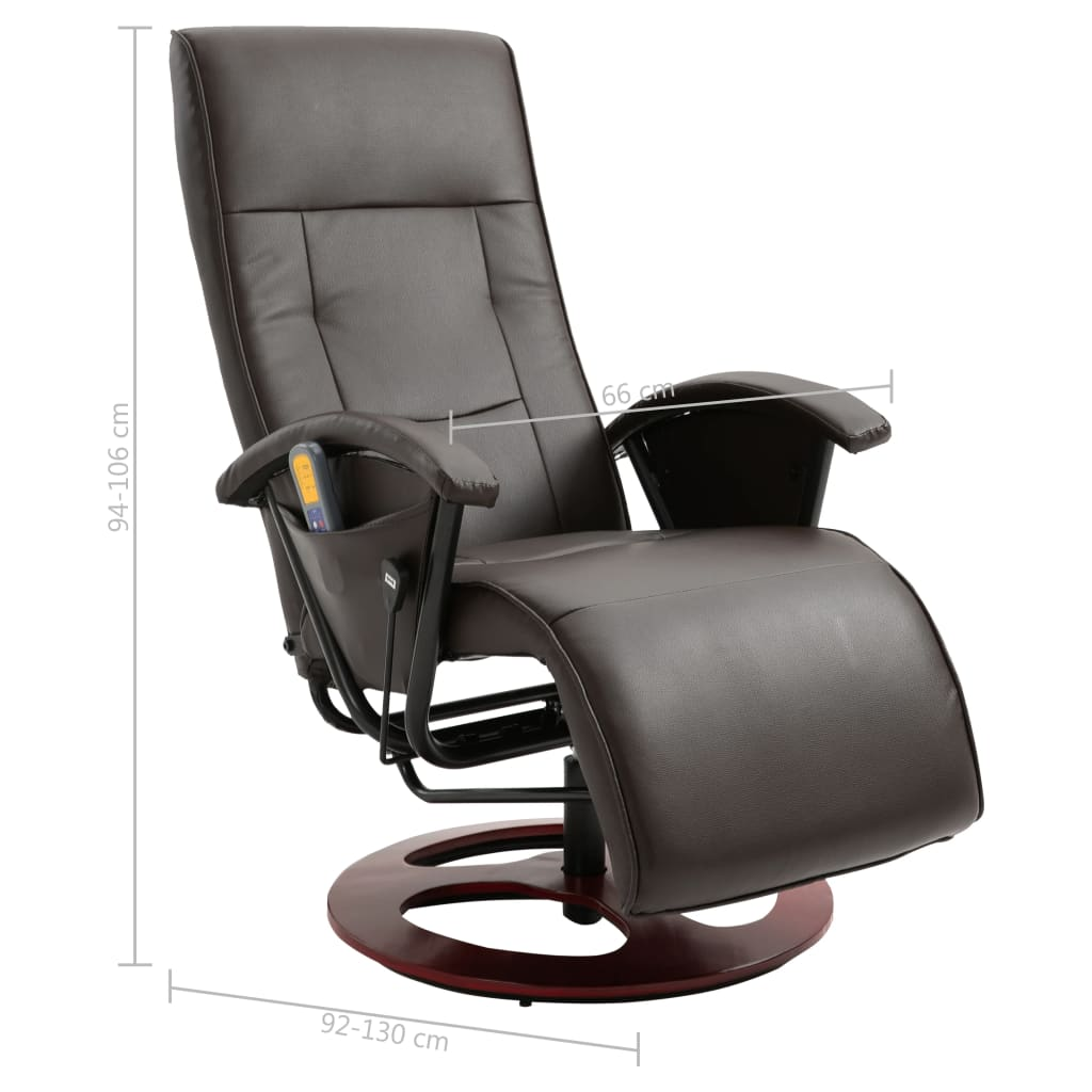 vidaxl massage chair brown remote control adjustable